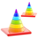 Traffic safety rainbow road cones isolated Royalty Free Stock Photography
