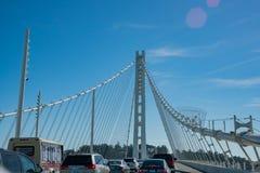 Traffic on the San Francisco Oakland Bay Bridge. San Francisco, MAY 21: Traffic on the San Francisco Oakland Bay Bridge on MAY 21, 2017 at San Francisco royalty free stock photos
