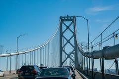 Traffic on the San Francisco Oakland Bay Bridge. San Francisco, MAY 21: Traffic on the San Francisco Oakland Bay Bridge on MAY 21, 2017 at San Francisco royalty free stock photo