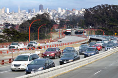 Traffic in San Francisco parkway tunnels. SAN FRANCISCO - MAY 21 2015:Traffic in San Francisco parkway tunnels.SF has 2cond-worst congestion in the United States stock image