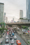 Traffic in Sathorn district,Bangkok,Thailand. Cars with blur motion. Stock Photo