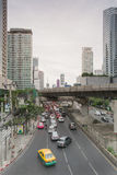 Traffic in Sathorn district,Bangkok,Thailand. Cars with blur motion. Royalty Free Stock Photos