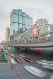 Traffic in Sathorn district,Bangkok,Thailand. Cars with blur motion. Royalty Free Stock Images
