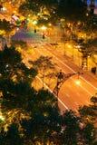 Traffic scene in Barcelona at night Stock Photo