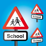 Traffic school roadsign. School sign, roadsign with warning for crossing children Stock Images