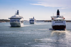 Traffic on the Sea. Ferries on a traffic jam on the Baltic Sea Royalty Free Stock Photography