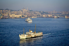 Traffic at sea in Istanbul. Early in the morning Royalty Free Stock Photos