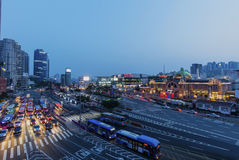 Traffic at Seoul Station Stock Image