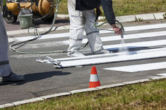 Traffic Series: Renew the Road Marking on the Street Royalty Free Stock Photo