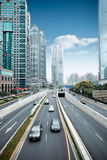Traffic in shanghai. Financial center district Stock Photography