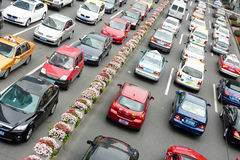 Traffic in Shanghai. Traffic on a main road in downtown Shanghai, China Royalty Free Stock Photos