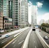 Traffic in shanghai financial center district Royalty Free Stock Photos