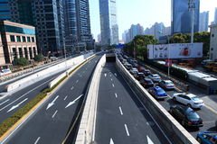 Traffic in shanghai Lujiazui financial center district Stock Photography