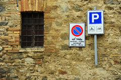 Traffic Sigh at Toscana. Italy Royalty Free Stock Photos