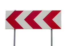 Traffic Sign. Warning traffic sign board red arrows white background royalty free stock photography
