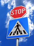 Traffic sign. Double traffic sign and sky Stock Images