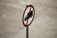 Traffic Sign. Narrow focus on a traffic sign: No Delivery Vehicles Royalty Free Stock Images