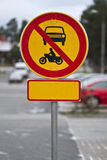 Traffic sign. Prohibiting traffic. Additional blank sign below prohibit sign stock image