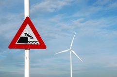 Traffic sign. And windturbine Royalty Free Stock Images