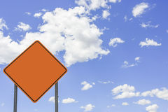 Traffic sign. Yellow Traffic sign over sunny sky with copyspace Royalty Free Stock Photography