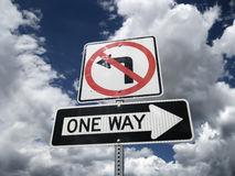 Traffic sign. One Way no left turn Royalty Free Stock Images