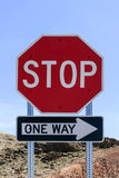 Traffic sign. STOP one Way Stock Image