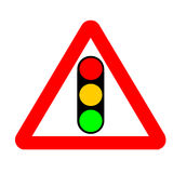 Traffic Sign. Warning, Attention Light Signal Ahead Royalty Free Stock Photo