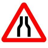 Traffic Sign. Warning Narrow Road Ahead royalty free illustration