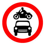 Traffic Sign. Round Traffic Sign With A Car And Motorbike Stock Illustration
