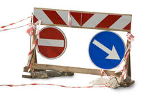 Traffic sign. The detour pointer. Red ribbons. A rough wooden frame Royalty Free Stock Images