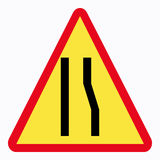 Traffic sign. (narrow road stock illustration