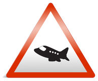 A traffic sign of airplane Stock Photography
