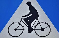 Traffic sign, allowed to drive her, bikers Stock Image
