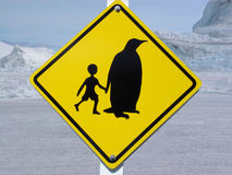 Traffic sign in Antarctica. Traffic sign (school) in Antarctica Royalty Free Stock Photo