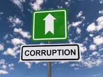 Corruption this way. A traffic sign with an arrow and the text 'corruption Royalty Free Stock Photography