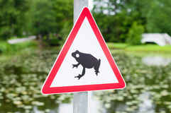 Traffic sign attends for frog migration Royalty Free Stock Photos