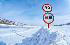 Traffic sign on Baikal ice Royalty Free Stock Images