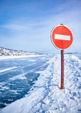 Traffic sign on Baikal ice Stock Photo