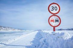 Traffic sign on Baikal ice Royalty Free Stock Image