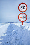 Traffic sign on Baikal ice Stock Image