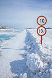 Traffic sign on Baikal ice Stock Photos