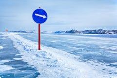 Traffic sign on Baikal ice Stock Photos
