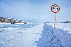 Traffic sign on Baikal ice royalty free stock photo