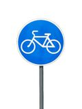 Traffic sign of bicycle lane or trail for cyclists Royalty Free Stock Photography