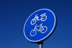 Traffic sign for bicycle and moped Royalty Free Stock Image