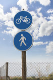 Traffic sign pedestrian and bicycle Royalty Free Stock Photos