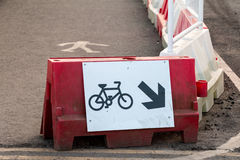 Traffic Sign: Bicycle Way. And Pedestrian Path in Construction Site stock photo