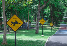 Traffic Sign on bike lane in the park Royalty Free Stock Photos