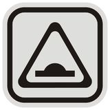 Traffic sign, retarder,gray and black square and triangle shape stock illustration