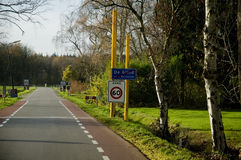 Traffic sign boards at de glind. Traffic sign boards near a desolate road at de glind, in the netherlands Stock Photos